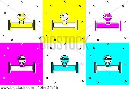 Set Industry Metallic Pipe And Manometer Icon Isolated On Color Background. Vector