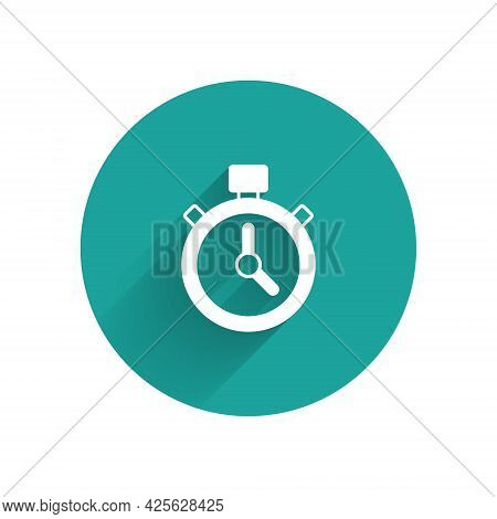 White Stopwatch Icon Isolated With Long Shadow. Time Timer Sign. Chronometer Sign. Green Circle Butt