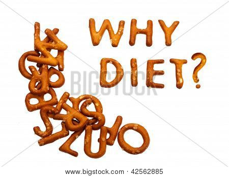 Why Diet - Question In Biscuits, Isolated Over White Background