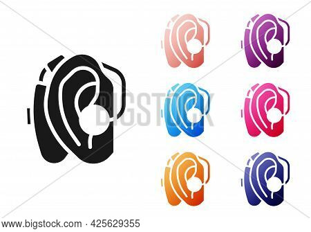 Black Hearing Aid Icon Isolated On White Background. Hearing And Ear. Set Icons Colorful. Vector