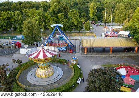 Kaliningrad On June 5, 2021, A Bird's-eye View Of The Amusement Park. The Concept Of Fun And Joy.