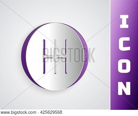 Paper Cut Gear Shifter Icon Isolated On Grey Background. Transmission Icon. Paper Art Style. Vector