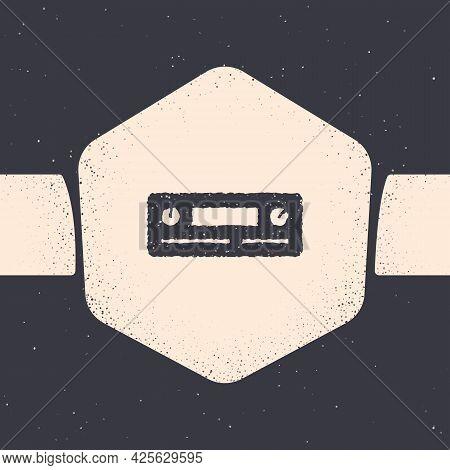 Grunge Car Audio Icon Isolated On Grey Background. Fm Radio Car Audio Icon. Monochrome Vintage Drawi