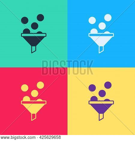 Pop Art Lead Management Icon Isolated On Color Background. Funnel With Money. Target Client Business