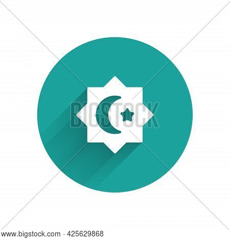 White Islamic Octagonal Star Ornament Icon Isolated With Long Shadow Background. Green Circle Button