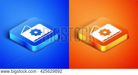 Isometric Islamic Octagonal Star Ornament Icon Isolated On Blue And Orange Background. Square Button