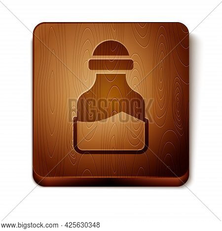 Brown In Can Icon Isolated On White Background. Seasoning Collection. , Condiments In A Glass Can. W