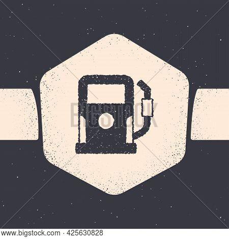 Grunge Petrol Or Gas Station Icon Isolated On Grey Background. Car Fuel Symbol. Gasoline Pump. Monoc