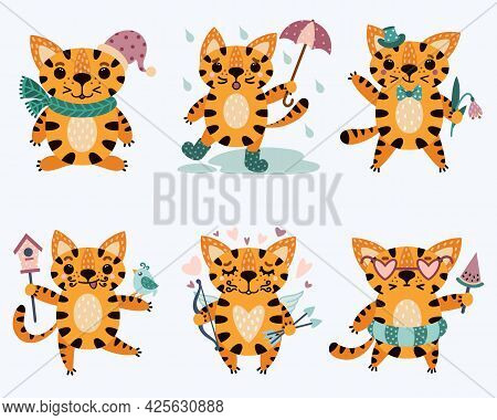Set Of Cute Cartoon Striped Tigers. Baby Animals In Different Poses With Funny And Sad Emotions. Cat