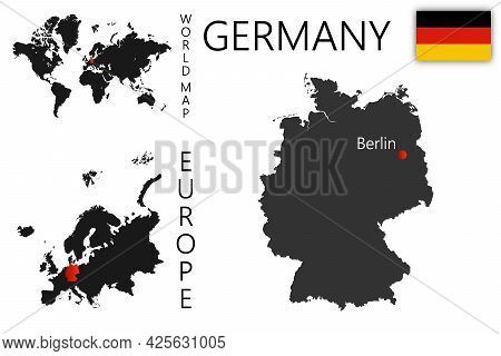 Realistic Vector Map Of Germany With Flag. The Location Of The Country On The Map Of The World And E