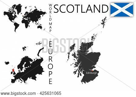 Vector Map Of Scotland With Flag. The Location Of The Country On The Map Of The World And Europe. A