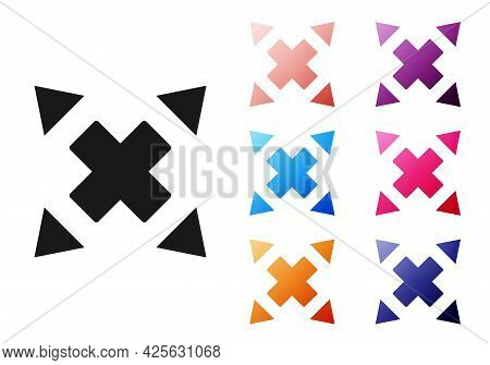Black Many Ways Directional Arrow Icon Isolated On White Background. Set Icons Colorful. Vector