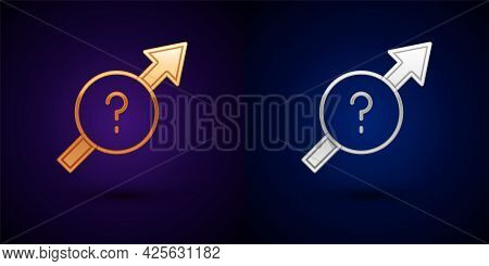 Gold And Silver Arrow Icon Isolated On Black Background. Direction Arrowhead Symbol. Navigation Poin