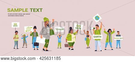 Environmental Activists Holding Posters Go Green Save Planet Strike Concept Mix Race Protesters Camp