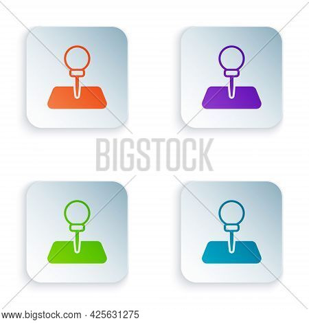 Color Push Pin Icon Isolated On White Background. Thumbtacks Sign. Set Colorful Icons In Square Butt