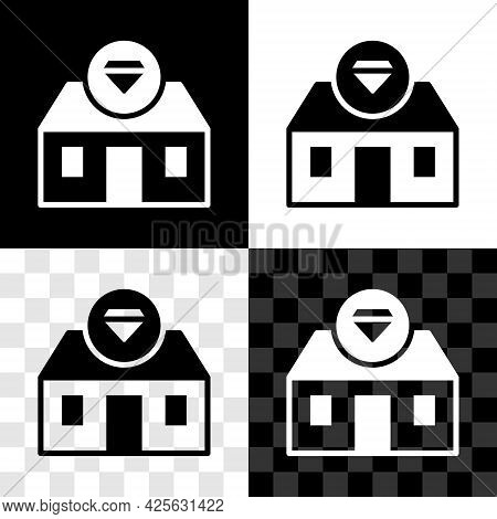 Set Front Facade Building Jewelry Store Icon Isolated On Black And White, Transparent Background. Ve