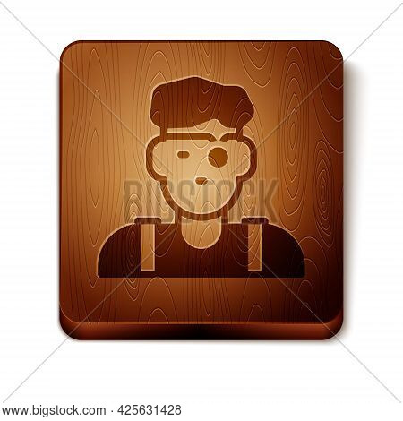 Brown Jeweler Man Icon Isolated On White Background. Wooden Square Button. Vector