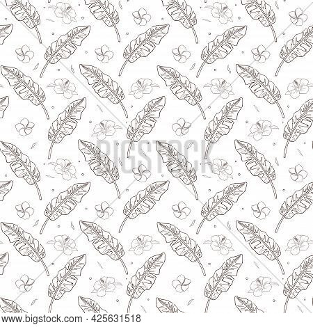 Line Art Tropical Plants Seamless Pattern. Hand Drawn Rainforest Ornament For Background, Backdrop,