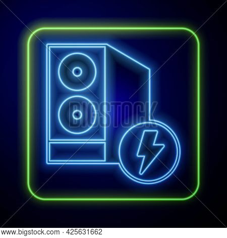 Glowing Neon Case Of Computer Icon Isolated On Blue Background. Computer Server. Workstation. Vector