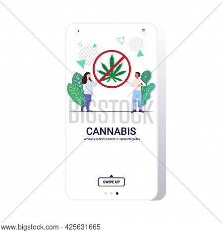 Man Woman Couple Holding Ban Drug Sign Cannabis Prohibition Icon Stop Drugs Consumption Concept Smar