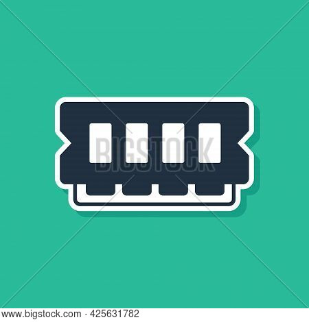Blue Ram, Random Access Memory Icon Isolated On Green Background. Vector
