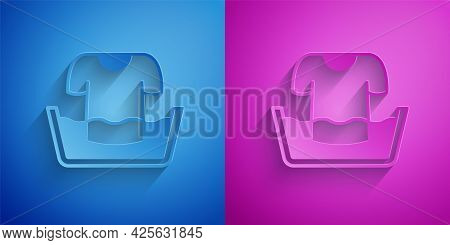 Paper Cut Plastic Basin With Shirt Icon Isolated On Blue And Purple Background. Bowl With Water. Was