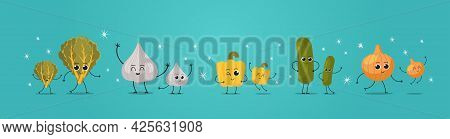 Cute Mascot Lettuce Garlic Pepper Cucumber Onion Vegetables Characters Funny Cartoon Personages Stan