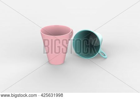 Two Metallic Cups Mockup Isolated On White Background. 3d Illustration