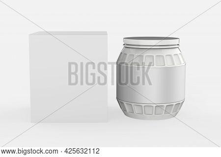 Glossy Jar Mockup Isolated On White Background. 3d Illustration
