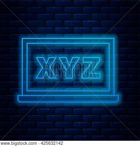 Glowing Neon Line Xyz Coordinate System On Chalkboard Icon Isolated On Brick Wall Background. Xyz Ax