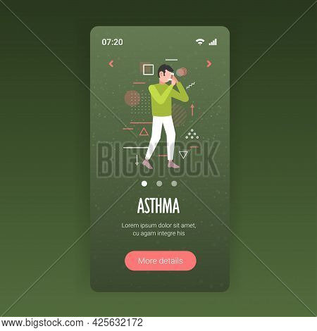 Man Using Spray Inhaler To Stop Asthma Attack Symptoms Affecting Breath And Lungs Bronchial Disease