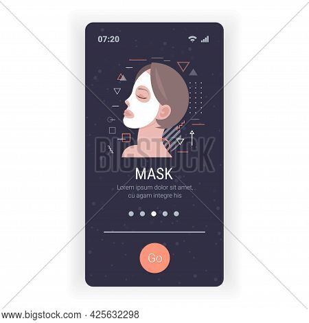 Young Woman Applying Clay Face Mask Skincare Spa Facial Treatment Concept Smartphone Screen Mobile A