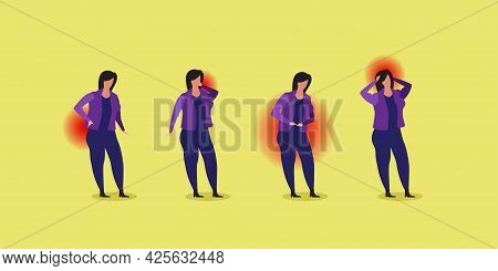 Set Sick Woman With Pain In Different Parts Of Body Backache Knee Head Illness Concept Horizontal Fu