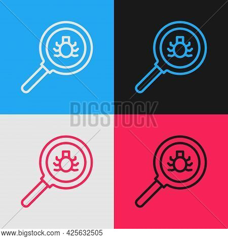 Pop Art Line Flea Search Icon Isolated On Color Background. Vector