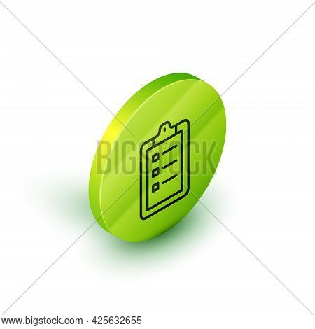 Isometric Line Grooming Salon Price List Icon Isolated On White Background. Green Circle Button. Vec