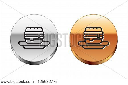 Black Line Junk Food Icon Isolated On White Background. Prohibited Hot Dog. No Fast Food Sign. Silve