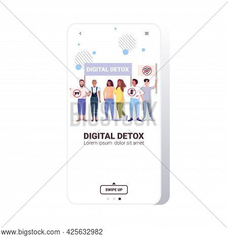 Activists Holding Posters With Gadgets In Red Prohibition Signs Digital Detox Concept