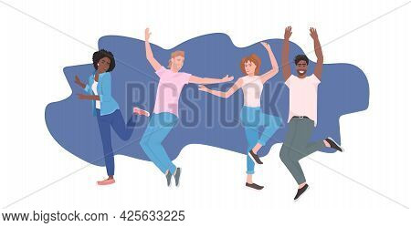 Mix Race People Dancing Men Women Dancers Having Fun Enjoying Dance Party Full Length