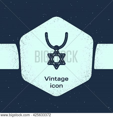Grunge Line Star Of David Necklace On Chain Icon Isolated On Blue Background. Jewish Religion Symbol