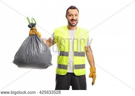 Waste collector holding a bin bag with gloves isolated on white background