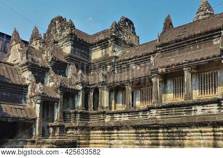 Details Of The Architecture Of The Temple In The Ancient City Of Angkor. Weathered Stone Steps, Colu