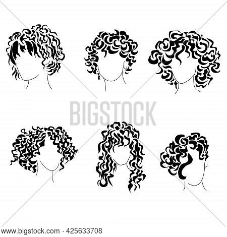 Hairstyles Curly Silhouettes Set, Womens Trendy Hairstyles For Different Hair Lengths Vector Illlust