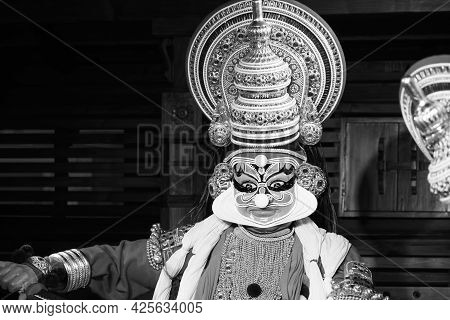 Black And White Close Up Of A Kathakali Wax Figure With Make-up. Kathakali Performer In The Pachcha