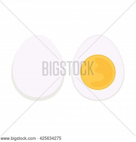 Vector Illustration Of Chicken Egg, Whole Egg In White Shell And Half Of Hard Boiled One Isolated On