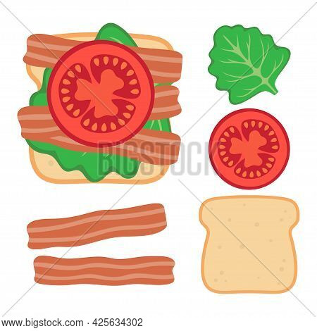 Toasted Loaf Of Bread With Lettuce Salad, Fresh Tomatoes And Bacon, Vector Illustration With Sandwic