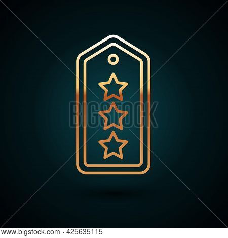 Gold Line Military Rank Icon Isolated On Dark Blue Background. Military Badge Sign. Vector