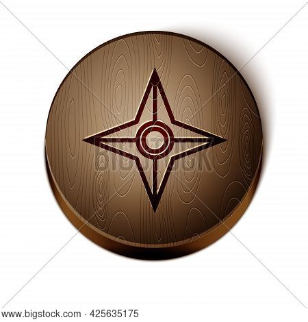 Brown Line Japanese Ninja Shuriken Icon Isolated On White Background. Wooden Circle Button. Vector