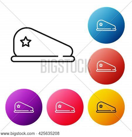 Black Line Military Beret Icon Isolated On White Background. Soldiers Cap. Army Hat. War Baret. Set