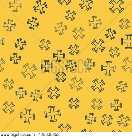 Blue Line Industry Metallic Pipe Icon Isolated Seamless Pattern On Yellow Background. Plumbing Pipel