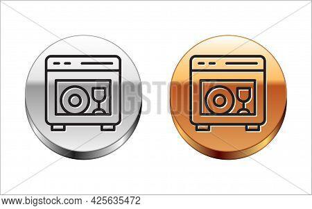 Black Line Kitchen Dishwasher Machine Icon Isolated On White Background. Silver-gold Circle Button.